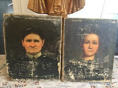 19Th Century Oil Portrait's Antique, Original,Rare,  1860 Hand Signed on Back