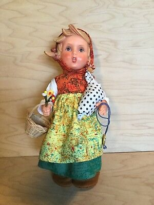 "Vintage MI Hummel Goebel Girl With Bundle 11"" Doll in Box with Tag"