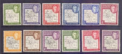 FALKLAND ISLAND DEP Maps Issue Collection of 12 Stamps Mixed Thick and Thin MINT