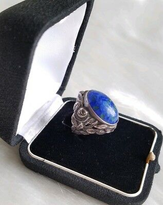 Arts & Crafts/Art Nouveau Sterling Murano Glass Ring