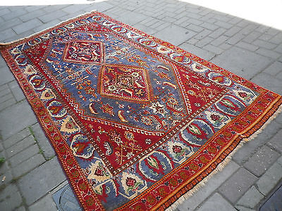 Old Traditional Hand Made Persian Rug Oriental Wool Blue Rug 282x139cm