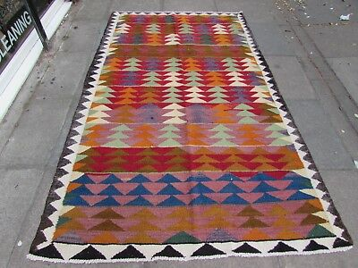 Old Traditional Hand Made Persian Kilim Oriental Wool Red Green kilim 245x147cm