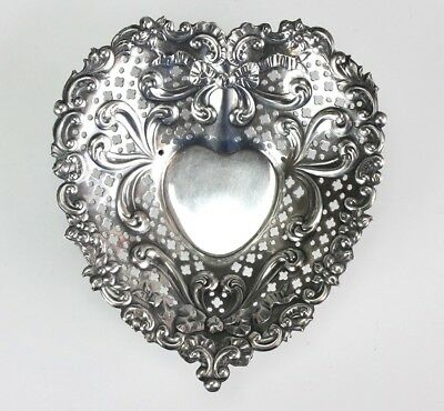 Antique GORHAM American Art Nouveau Sterling Silver Reticulated Heart Dish TWA