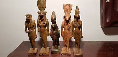 Rare Antique Ancient Egyptian 5 Statues God Isis Sekhmet Horus khnum 1870-1740BC