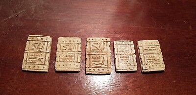 Rare Antique Ancient Egyptian 5 Rare Magical Stones Hiroglyphic 2side1620-1540BC