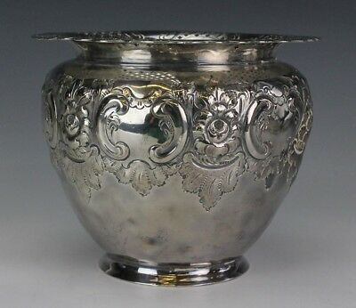 Atkin Bros Sheffield England Silver Plate Pierced Rim Floral Scroll Planter PKE