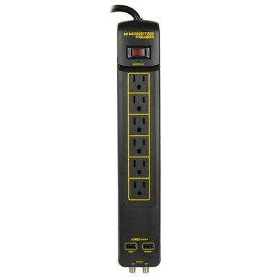 Monster Power Gold 600 AVU+ 1080 Joules 120V 6-Outlet Surge Protector w/2 USB 3.
