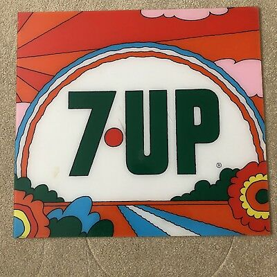 VTG 60s 70s 7up Soda Peter Max Style Hippie Advertising Sign Plexi Psychedelic