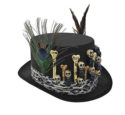 Black Voodoo Adult Bones Skull Feather Costume Top Hat Witch Doctor Men Women