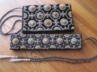 Vtg Evening CLUTCH PURSE & Matching BELT Black Velvet /w Tassels Semi Gems INDIA