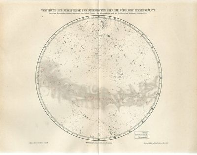 1895 STARS NEBULA NORTHERN HEMISPHRE STELLAR CLUSTERS CELESTIAL Antique Map