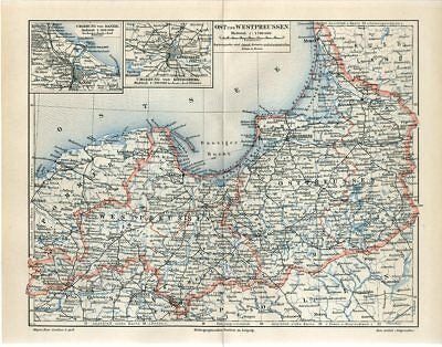 1896 EAST and WEST PRUSSIA GERMANY POLAND RUSSIA KONIGBERG Antique Map dated