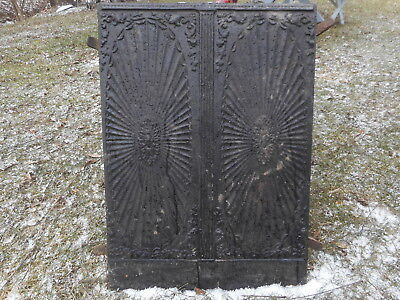 Antique Cast Iron Fireplace Back Plate Heat Reflector Architectural 100LBS