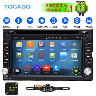 Android 7.1 6.2'' Car DVD Player Stereo Double 2 Din GPS Bluetooth DBD2 DVR Sub