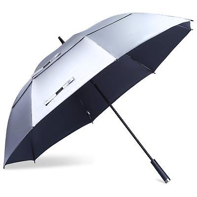 68 Inch Windproof Large Golf Umbrella Vented Double Canopy,Automatic Open  WHITE