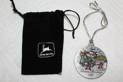 Mint Condition New Unused 1997 John Deere Christmas Ornament With Black Pouch