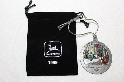 Mint New 1999 John Deere Christmas Ornament With Black Pouch 4th In Series