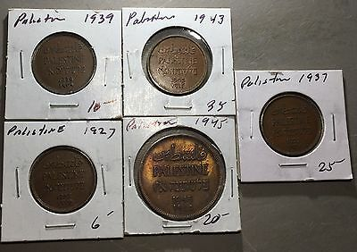 Lot of (5) PALESTINE COINS  NICE COLLECTOR GROUP MIL   #A136 FREE U.S. SHIPPING