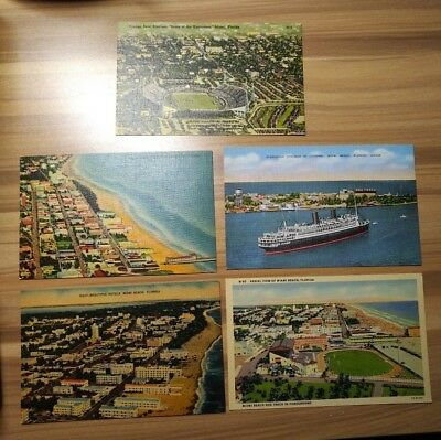 Vintage Linen Postcard Lot of 5 Miami Beach Florida Destination Post Card Travel