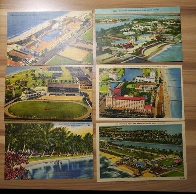 Vintage Linen Postcard Lot of 6 Miami Beach Florida Destination Post Card Travel