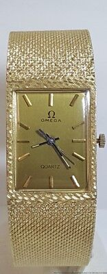 Massive Mens Omega Sweep Second Mens Midcentury 54.5g Gold Dress Wristwatch
