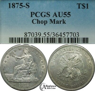 1875-S T$1 Trade Dollar PCGS AU55 Chop Mark rare lustrous old type silver coin