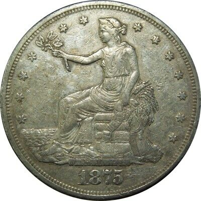 1875-CC T$1 Trade Dollar AU det. rare better date old type coin silver money