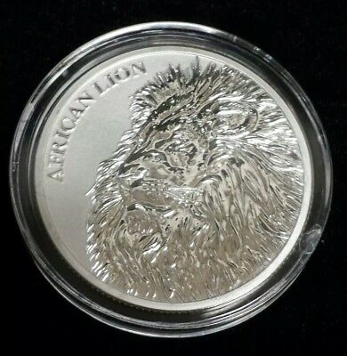 2018 Republic of Chad 5000 Francs 1 oz .999 Silver Coin - African Lion