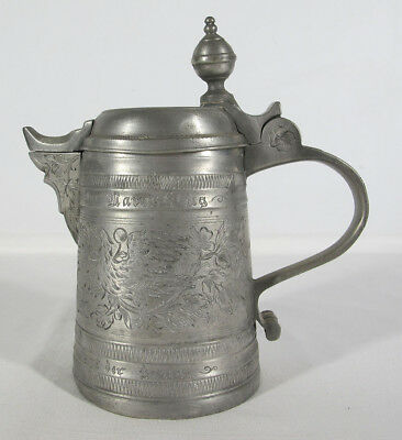 Antique 18th C 1700's German Pewter Flagon Heavy Engraving Eagles Touchmarks yqz