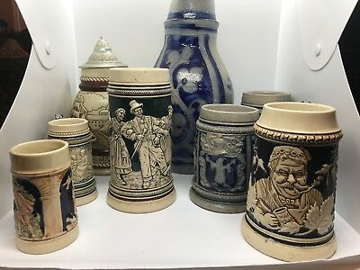 Collection of German Pitchers, Mugs, and Steins