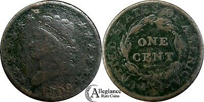 1809 1c Classic Head Large Cent KEY DATE VG-F details rare old type coin penny