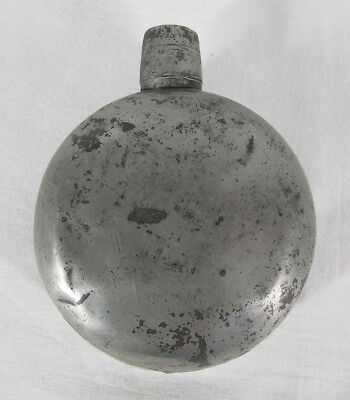 "Antique American 18th C 1700's Pewter Dram Bottle Whiskey/Spirits Flask 4¾"" yqz"