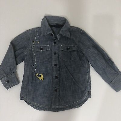 Boys Baby Gap Sz 3T Chambray Fish fishing Embroidered Button Down Shirt
