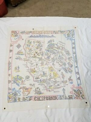 """California Vintage Linen State Map Tablecloth 50"""" X 46"""""""