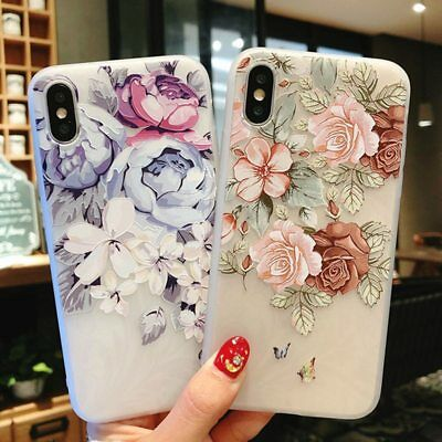 Flower Silicon Phone Case For iPhone 7 8 Plus XS Max XR Rose Floral