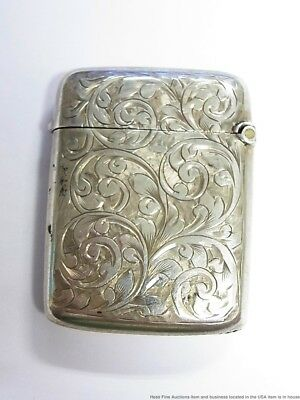 Antique Edwardian Sterling Silver JT Birminghan Ornate Engraved Vesta Match Safe