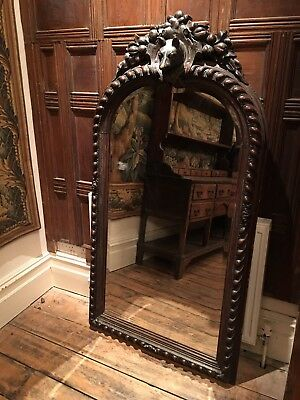19Th Century Large Carved Oak Black Forest Mirror. With A Central Carved Animal