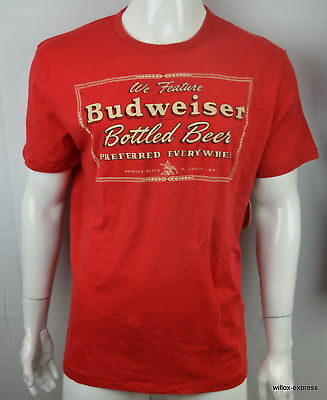 0f6c2bd12d309 LUCKY BRAND MEN S Budweiser Bottled Beer Red Retro T-Shirt Super ...