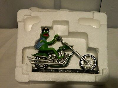 NEW KERMIT THE FROG Figurine Easy Green Rider The Muppet Motorcycle Mania