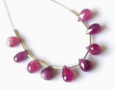 Natural Pink Sapphire Faceted Briolette Gemstone Beads 3X6 - 4X7 Mm 9 Pcs #244