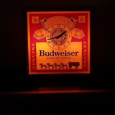 Budweiser Light Up Wall Clock Vg Working Cond.