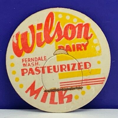 Vintage Lot of 5  Milk Bottle Cap Tops Wilson Dairy Pasteurized Ferndale WA