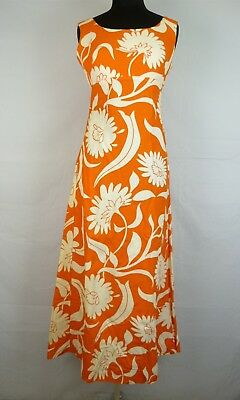 Alfred Shaheen Women's Orange/White Vintage Hawaiian Empire Waist Maxi Dress XS