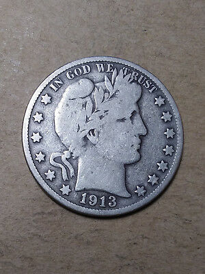 1913 S 50C Barber Half Circulated  90 % Silver US Coin  BH109 VG+ FREE SHIPPING