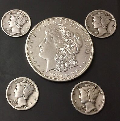 5 US 90% Silver Coin Lot - Morgan Silver Dollar Mercury Dimes - Nice!