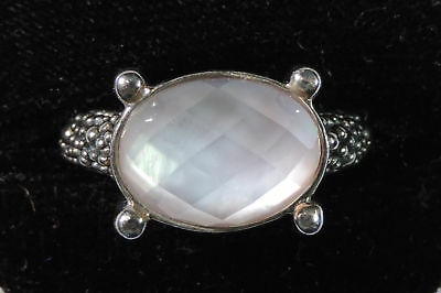 Designer Michael Dawkins Mother of Pearl Doublet Sterling Silver 925 Ring Size 8