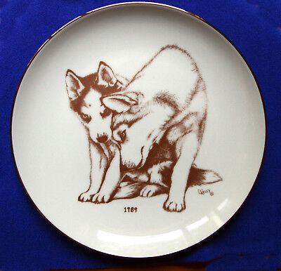 Siberian Husky Collectible Laurelwood Display Plate  1989
