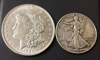 2 US 90% Silver Coin Lot - Morgan Silver + Walking Liberty Half Dollar - Nice!