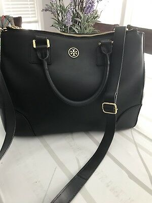 d0bfd15bd8e2 Tory Burch Harper Leather Slouchy Satchel Black Double Zipper gold ❤️retail   450