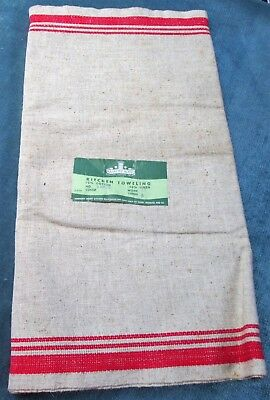 Antique Oatmeal Linen & Cotton Towel Fabric Red Stripes SEARS 5 Yds Never Used